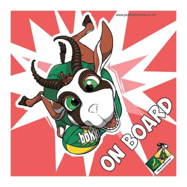 Springbok on board sign Red